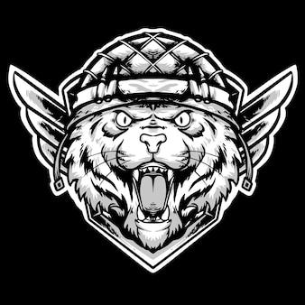 Głowa tygrysa z logo maskotki kasku piechoty