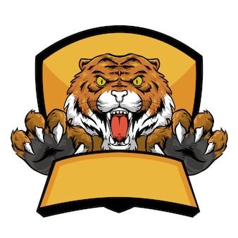 Głowa tygrysa z pazurami i transparent godło logo maskotka