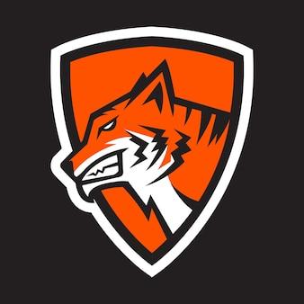 Głowa tygrysa z wektorem logo maskotki tarczy