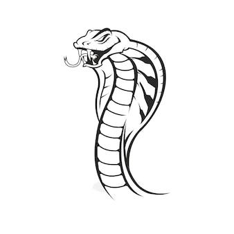 Głowa węża kobra styl vintage na białym tle