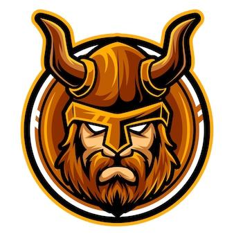 Głowa wikinga maskotka esport logo ilustracja wektorowa