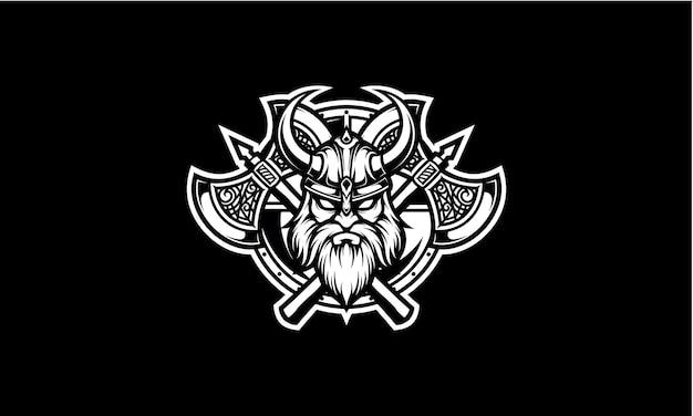 Głowa wikinga z godłem maskotki topór i tarcza