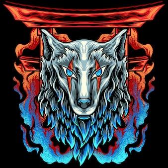 Głowa wilka japonii z ogniem