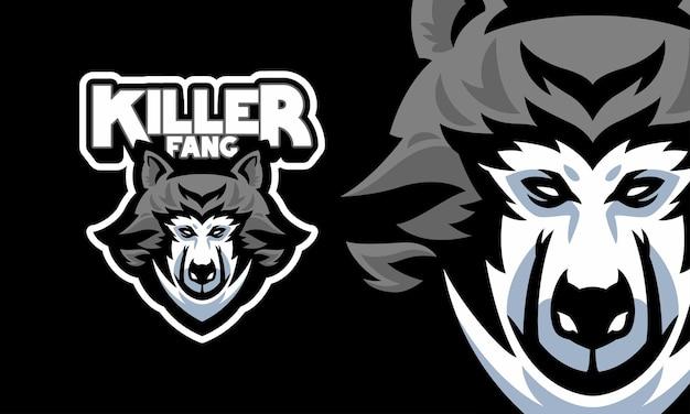 Głowa wilka sport logo maskotka ilustracja wektorowa