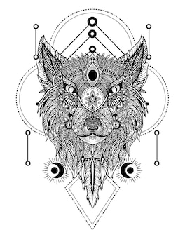 Głowa wilka w stylu ornamentu mandali