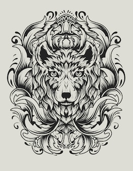 Głowa wilka z antycznym ornamentem grawerowanym
