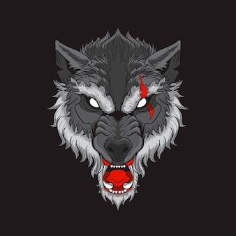 Głowa wilka z blizną w czarnym tle