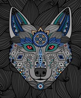 Głowa wilka z kolorowym wzorem ozdobnego wzoru