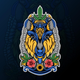 Głowa wilka z motywem kwiatowym i ornamentem zentangle