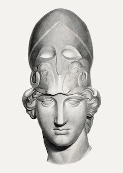 Głowa z hełmem w stylu vintage, ilustracja, zremiksowana z grafiki autorstwa johna flaxmana