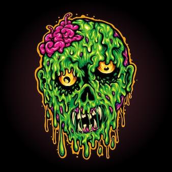 Głowa zombie horror halloween ilustracje wektorowe do pracy logo, maskotka t-shirt towar, naklejki i projekty etykiet, plakat, kartki okolicznościowe reklama firmy lub marki.