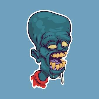 Głowa zombie kreskówka