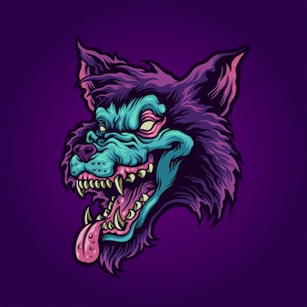 Głowa zombie wilka