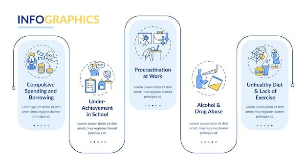 Główne problemy z samokontrolą wektor infografika szablon. elementy projektu prezentacji zagadnień zdrowia psychicznego. wizualizacja danych w 5 krokach. wykres osi czasu procesu. układ przepływu pracy z ikonami liniowymi
