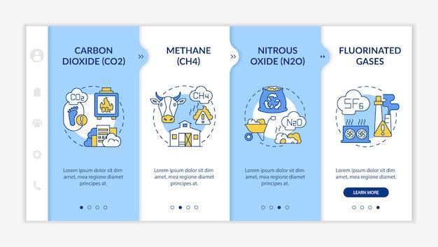 Główny szablon wektora wprowadzania gazów cieplarnianych. responsywna strona mobilna z ikonami. przewodnik po stronie internetowej 4 ekrany kroków. dwutlenek węgla, koncepcja kolorów podtlenku azotu z liniowymi ilustracjami