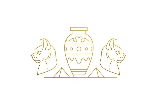 Głowy kota w pobliżu wazonów i piramid sylwetka liniowa ilustracja wektorowa