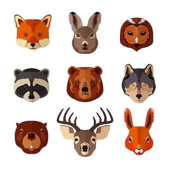 Głowy zwierząt ustawione na płaskim stylu