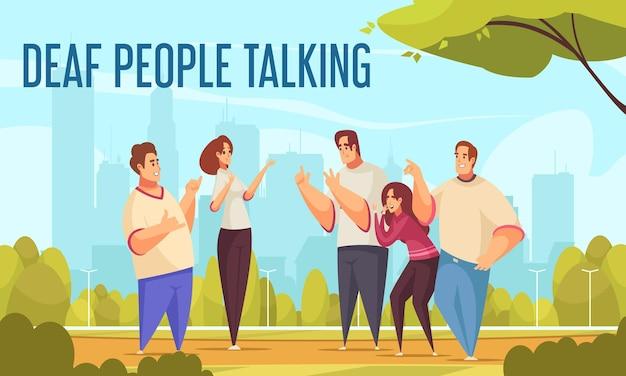 Głuchy ludzie rozmawiają z płaską ilustracją języka migowego