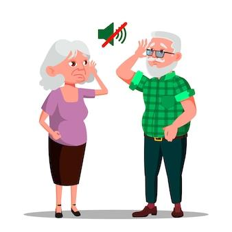 Głuchy starszy mężczyzna i kobieta