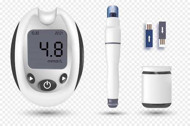 Glukometr glukometru. zestaw bannerów cukrzycy - realistyczny sprzęt do badania poziomu glukozy we krwi i leki.
