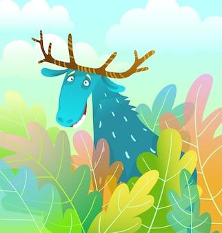 Głupi projekt łosia wyglądający zabawnie i ekscentrycznie na tle lasu kolorowy kreskówka w stylu przypominającym akwarele.
