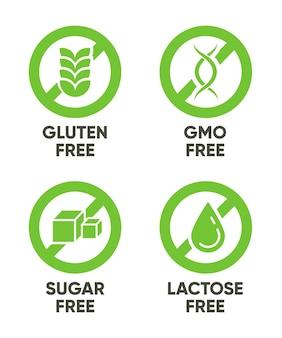Gluten, gmo, cukier, znaki bez laktozy. zestaw zielonych symboli z tekstem dla alergii, zdrowej żywności, naturalnych produktów ekologicznych. ilustracje wektorowe na białym tle