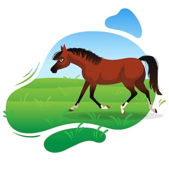 Gniady koń biegnie kłusem zielona łąka w tle ilustracja wektorowa na białym tle na w