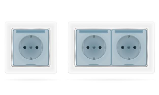 Gniazdko elektryczne do wewnętrznego okablowania elektrycznego na białym tle