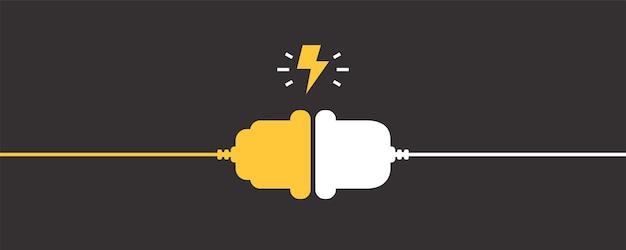Gniazdko elektryczne z wtyczką. koncepcja połączenia i rozłączenia. koncepcja połączenia błędu 404. wtyczka elektryczna i gniazdko odłączone. przewód, kabel zasilania odłącza