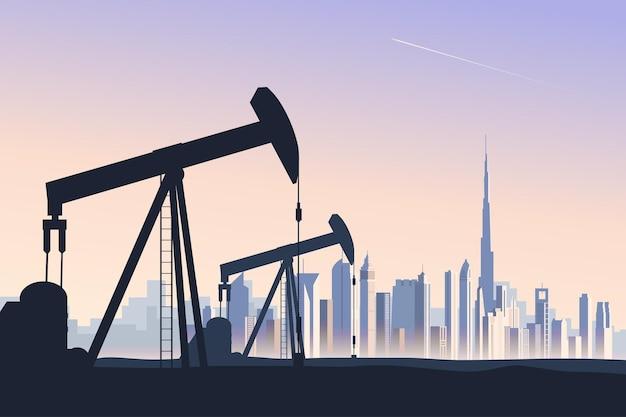 Gniazdo pompy szybu naftowego z abstrakcyjną panoramą dubaju na tle panoramę miasta dużej metropolii