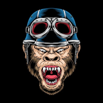 Gniew małpa biker logo na czarnym tle