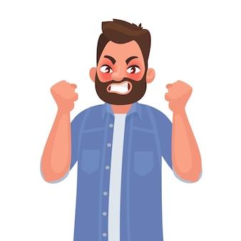 Gniew. zły człowiek wyraża swoje negatywne emocje. w stylu kreskówki