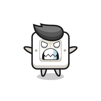 Gniewna ekspresja postaci maskotki włącznika światła, ładny styl na koszulkę, naklejkę, element logo