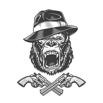 Gniewna głowa goryla w kapeluszu fedora