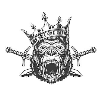 Gniewna głowa goryla w królewskiej koronie