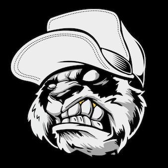 Gniewna głowa pandy w kapeluszu. rysunek odręczny