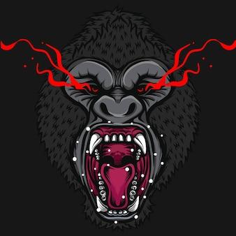Gniewna ilustracja dzikich zwierząt goryla