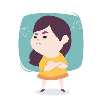 Gniewna mała śliczna dziewczyna