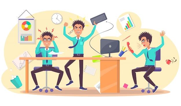 Gniewna osoba przy pracy ilustracją