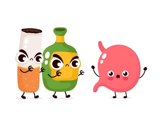 Gniewna straszna butelka alkoholu i papieros zabijają żołądek.