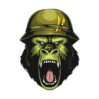 Gniewna twarz żołnierza goryla
