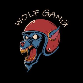 Gniewna wilcza głowa jest ubranym rocznika hełm