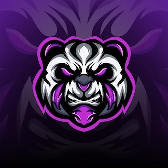 Gniewne i okrutne logo maskotki esport gaming panda