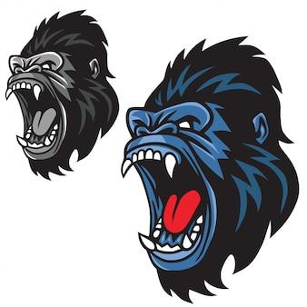 Gniewny goryl maskotki kreskówki loga setu wektor