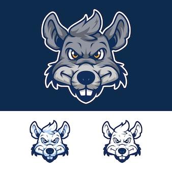 Gniewny szczur głowy maskotka logo