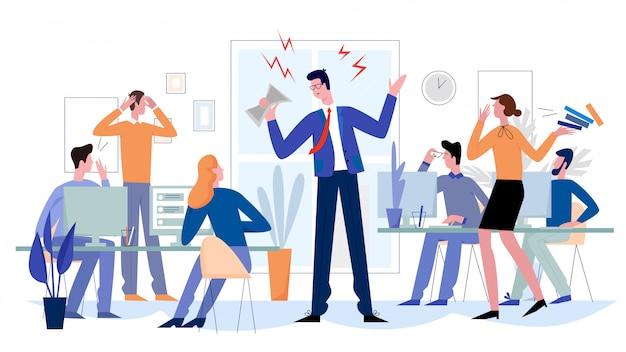 Gniewny szef w biurowej płaskiej ilustraci. przerażeni pracownicy zszokowani wściekłym kierownikiem.
