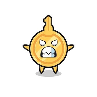 Gniewny wyraz kluczowej postaci maskotki, uroczy design