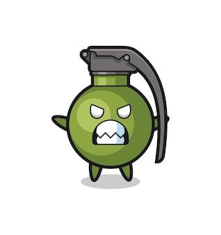 Gniewny wyraz postaci maskotki granatu, ładny styl na koszulkę, naklejkę, element logo