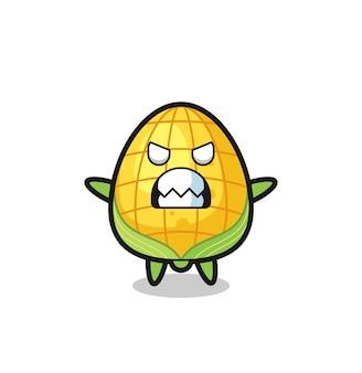 Gniewny wyraz postaci maskotki kukurydzianej, ładny styl na koszulkę, naklejkę, element logo