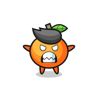 Gniewny wyraz postaci maskotki mandarynki, ładny styl na koszulkę, naklejkę, element logo